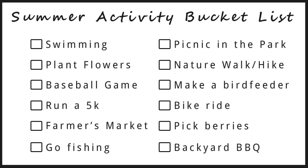 Summer activity bucket list suggestions