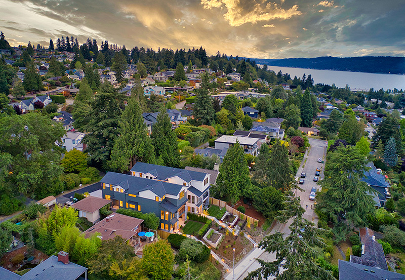 Aerial View of Two View Ridge Homes