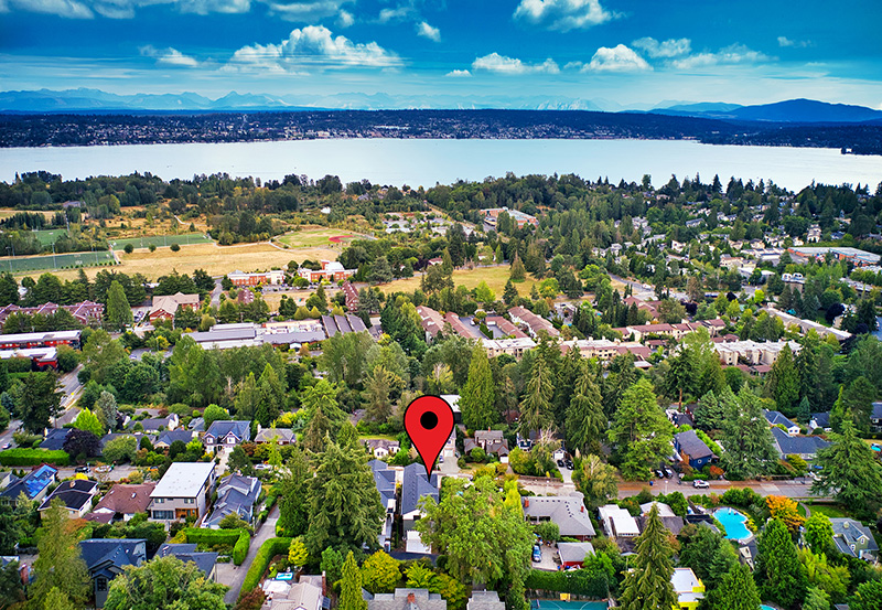 Aerial View of Two View Ridge Homes Location