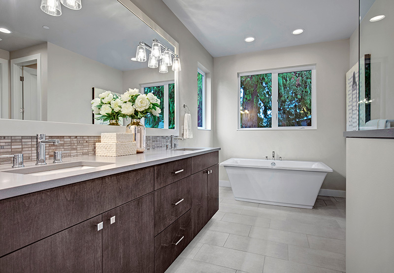 Master Bath with freestanding tub and double sink vanity
