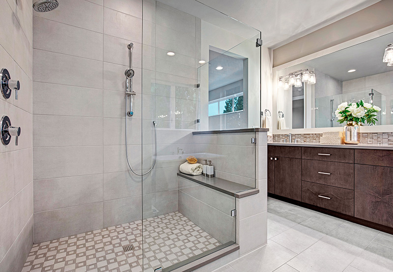 Master Bath with walk-in shower and bench