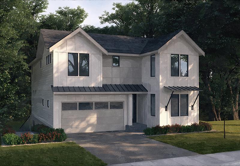 Contemporary Craftsman Home Rendering