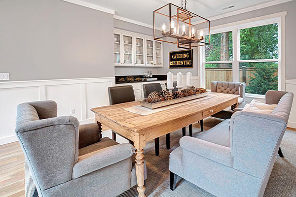 wood dining room table with wet bar