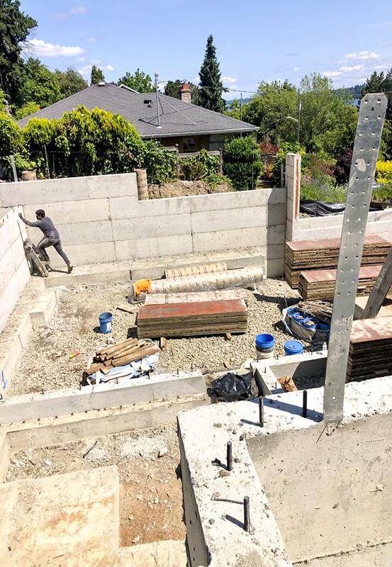seward park wall foundation pouring