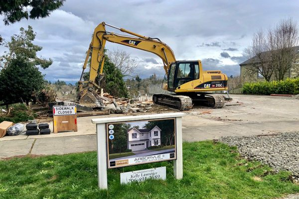 Arborvue rendering sign and demolition
